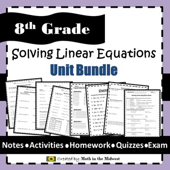 Solving Linear Equations Bundle - 8.EE.7 {EDITABLE}