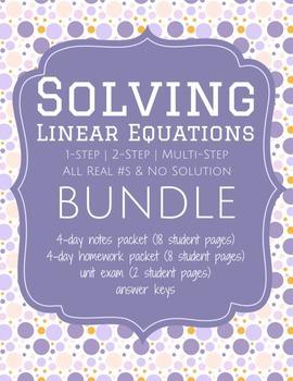 Solving Linear Equations -  Bundle [Notes & HW Packet, Unit Exam]  | Worksheets