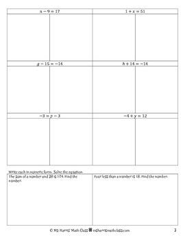 Solving Linear Equations - Comprehensive Notes Packet (Worksheet)
