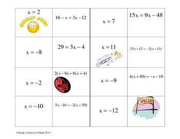 Solving Linear Equations Domino Activity