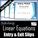 Solving Linear Equations: Entry & Exit Slips