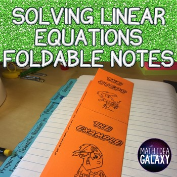 Solving Linear Equations Foldable Notes