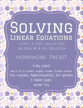 Solving Linear Equations - Homework Packet (Worksheets)
