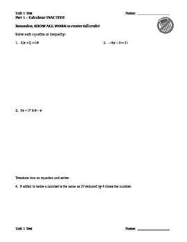 Solving Linear Equations & Inequalities Test