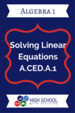 Solving Linear Equations Lesson Plan A.CED.A.1