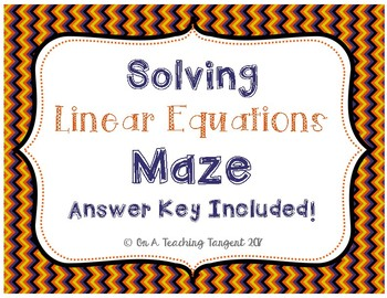 Solving Linear Equations Maze