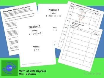 Solving Linear Equations-Poster Activity for Algebra 1