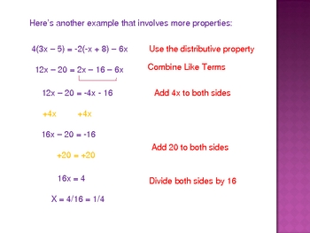 Solving Linear Equations Powerpoint