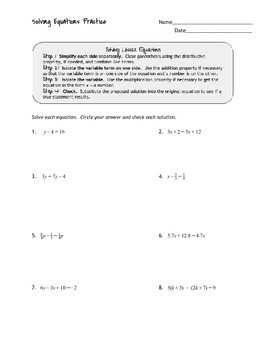 Solving Linear Equations Practice