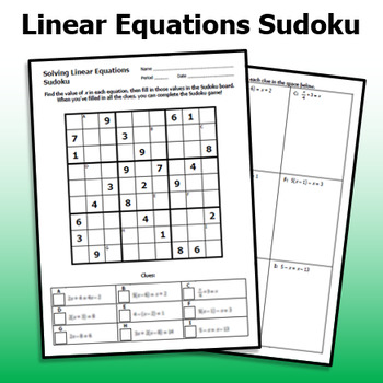 Solving Linear Equations Practice Sudoku Game By Emily P K Tpt