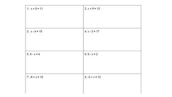 Solving Linear Equations Practice Worksheet #2