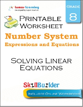 Solving Linear Equations Printable Worksheet, Grade 8