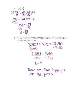 Solving Linear Equations Quiz