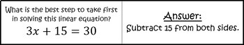 Solving Linear Equations - Quiz Cards Activity
