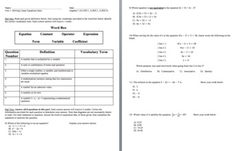 Solving Linear Equations Quiz and Review