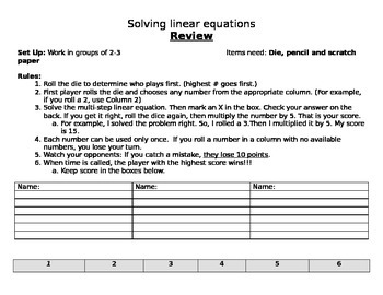 Solving Linear Equations Review Dice Game