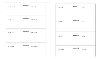 Solving Linear Equations Task Cards / Stations Activity