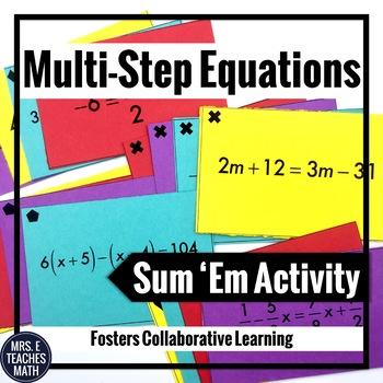 Multi-Step Linear Equations Sum Em Activity