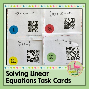 Solving Linear Equations Task Cards QR Codes