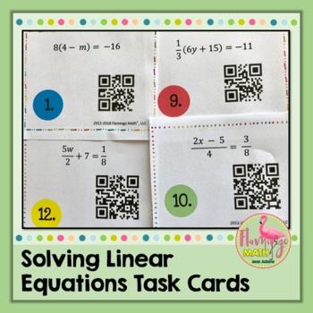 Solving Linear Equations Task Cards QR Codes (Algebra 2