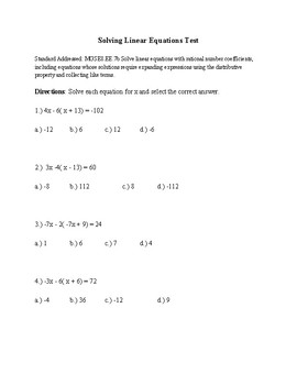 Solving Linear Equations Test