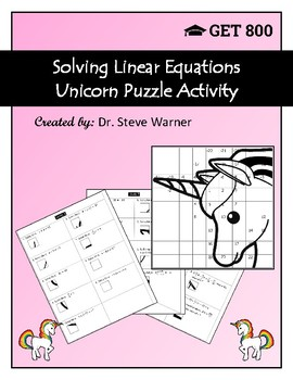 Solving Linear Equations Unicorn Puzzle Activity (Free Version)