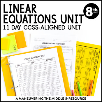 8th Grade Linear Equations Unit: 8 EE 7