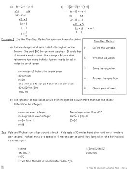 Solving Linear Equations - Unit 2 Bundle