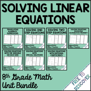 olving Linear Equations Notes and Practice Bundle