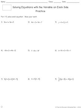 Solving Linear Equations Notes and Practice Bundle