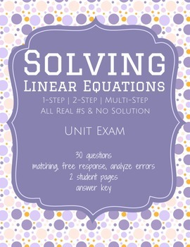 Solving Linear Equations - Unit Test (Exam)