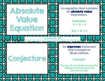 Solving Linear Equations Vocabulary Cards