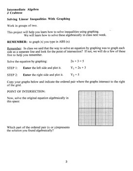 Algebra: Graphing Calculator: Solving Linear Equations Wit
