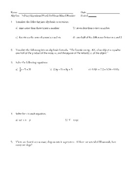 Solving Linear Equations & Word Problems (Consecutive Integer, Age, Motion, etc)