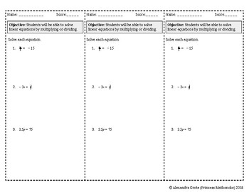 Solving Equations by Multiplying or Dividing Ticket