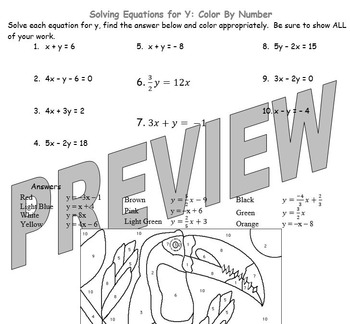 Solving Linear Equations for y Color by Number