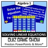 (Alg 1) Quiz Show Game Solving Linear Equations in a PowerPoint Presentation