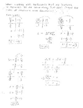 Solving Linear Equations with Fractional and Decimal Coefficients