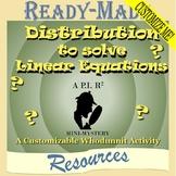 Solving Linear Equations w/Distributive Property (CUSTOMIZABLE Scavenger Hunt)