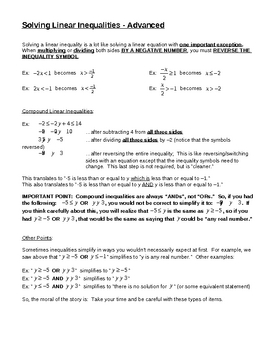 Solving Linear Inequalities - Advanced for Busy Teachers
