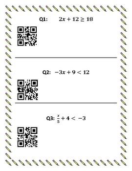 Solving Linear Inequalities QR Reader Activity