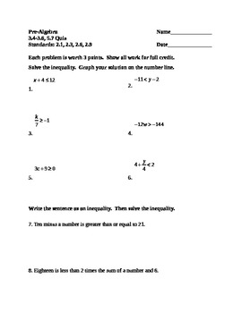 Solving Linear Inequalities Quiz
