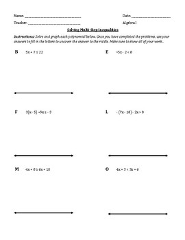Solving Linear Inequalities Worksheet With Riddle By Christine Rolston