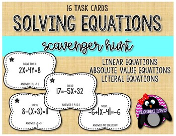 Solving Linear, Literal & Abs. Value Equations Scavenger Hunt