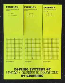 Solving Linear & Quadratic Systems by Graphing (Foldable)