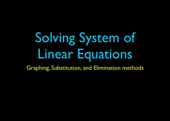 Solving Linear System by Graphing