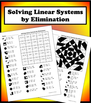 Solving Linear Systems By Elimination Color Worksheet