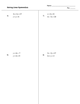 Solving Linear Systems Quiz (4 versions)