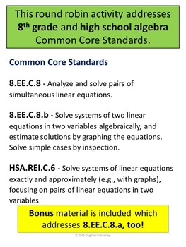 Solving Linear Systems Round Robin Activity - 8th and HS Algebra Common Core
