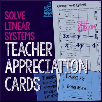 Solve Linear Systems Teacher Appreciation Cards